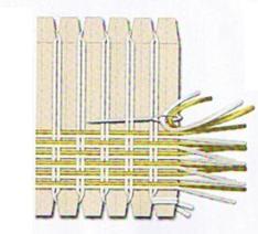 Bufanda con cintas hechas en telar de carton | Artesanias