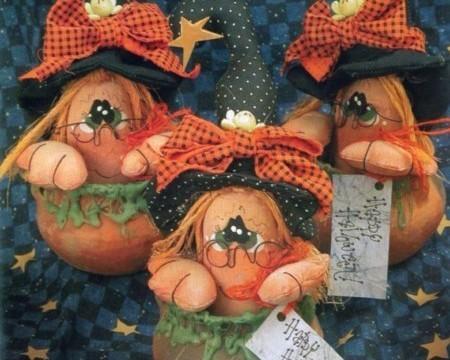 Brujitas de tela para Halloween