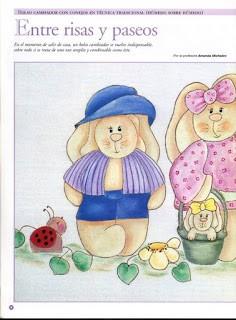 Bolso Cambiador con conejos en tecnica tradicional (humed sobre humedo)