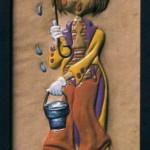 Cromatismo sobre una figura en cuero
